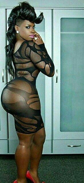 Nice Shaped Ebony Booty In Dress