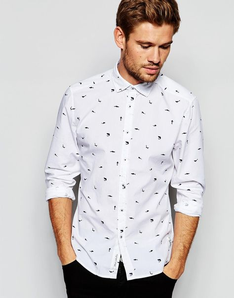 412d2a3648e Esprit white and blue shark print shirt