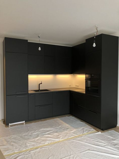 Your kitchen does not have to be big As long as its black ;) Black Kitchen Cabinets Big black kitchen long