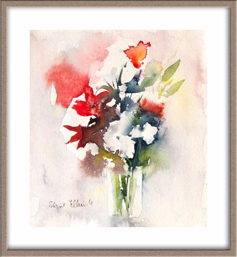 Peinture Originale De Quelques Fleurs Dans Un Vase Aquarelle