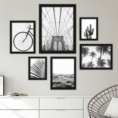 6 Piece Framed Graphic Art Print Set Gallery Wall Art Set Small Wall Art Art Gallery Wall