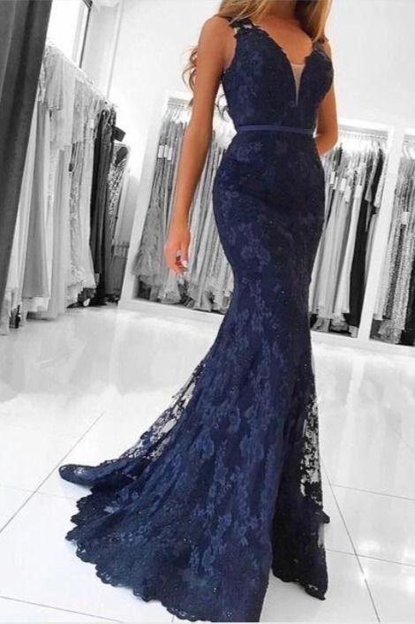 Mermaid Lace V-Neck Long Prom Dresses Formal Evening Gowns #bluepromdress #mermaidpromdress #longformaldress
