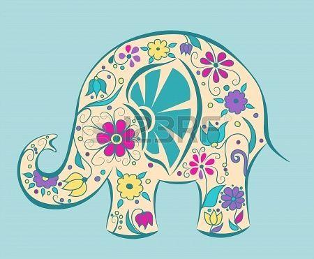 Pin De Romina Almitrani En Patrones Para Bordar Elefantes Pintados Arte De Elefante Silueta De Elefante