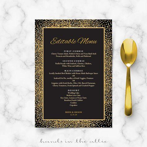 Rehearsal Dinner Menu Cards Black And Gold Wedding Template Printable Confetti Art Deco Great Gatsby Style Theme Editable Digital By Handsintheattic