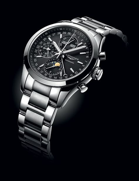 The design of the @longineswatches Conquest Classic Moonphase was influenced by the refined elegance of equestrian sports; this watch contains an automatic movement, the Caliber L678, which combines a chronograph with a moon-phase display (shown with black dial/steel bracelet). #longines #watchtime #chronograph