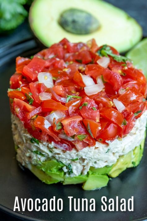 This healthy Avocado Tuna Salad recipe is a keto and low carb lunch or dinner recipe made with creamy tuna and mayonnaise, cilantro, tomatoes, and fresh avocado. It's one of my favorite avocado recipe Avocado Tuna Salad, Fresh Avocado, Avocado Cream, Seafood Recipes, Keto Recipes, Dinner Recipes, Seafood Appetizers, Cilantro Recipes, Fresh Tuna Recipes