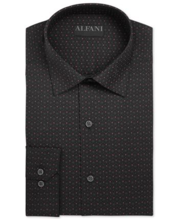 $95 ALFANI Men REGULAR-FIT STRETCH WHITE GRAY CHECK DRESS SHIRT 15-15.5 32//33 M