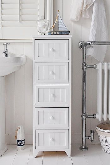 A 5 Drawer Tall Narrow Bathroom Cabinet From The Maine Range Of Simple But Class Bathroom Floor Cabinets Narrow Bathroom Cabinet Slim Bathroom Storage