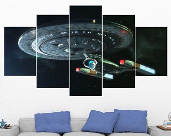 Starship Enterprise Star Trek 5 Panel 5 Piece Canvas Art Set Uss Enterprise Wall Art Print Poster Painting Art 5 Piece Canvas Art Posters Art Prints Mural