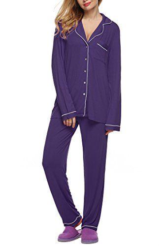 900c4f665 Imposes Women's Pajamas Set, Long Sleeve Sleepwear Soft Button Down  Loungewear With PJ Pants