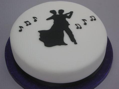 Monochrome ballroom dancing cake by Sunflower Cake Company.