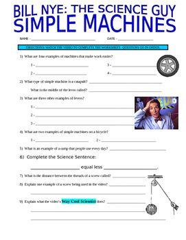 Bill Nye The Science Guy Simple Machines Stem Video Worksheet