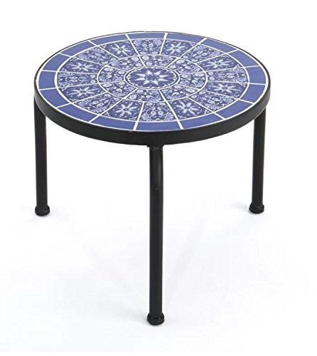 Exterior End Table Side Table Patterned Blue White Color Metal
