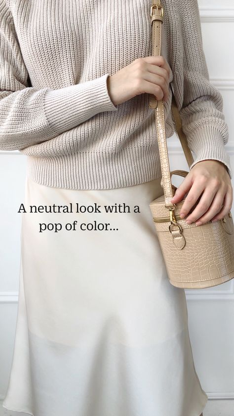 A neutral look with a pop of color...
