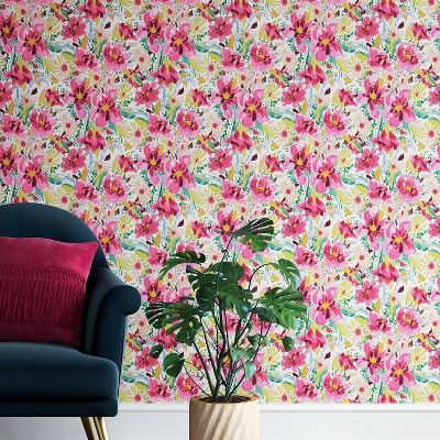 Antheron Floral Peel Stick Removable Wallpaper Pink Opalhouse Target Opalhouse Pink Floral Wallpaper Removable Wallpaper