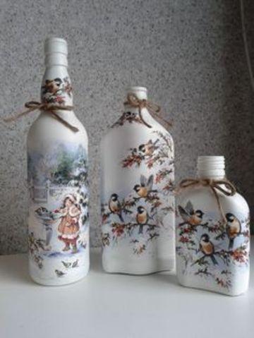 Bellas Ideas De Botellas De Vidrio Decoradas Con Servilletas Botellas De Vidrio Decoradas Botellas De Vidrio Botellas Decoradas Navideñas