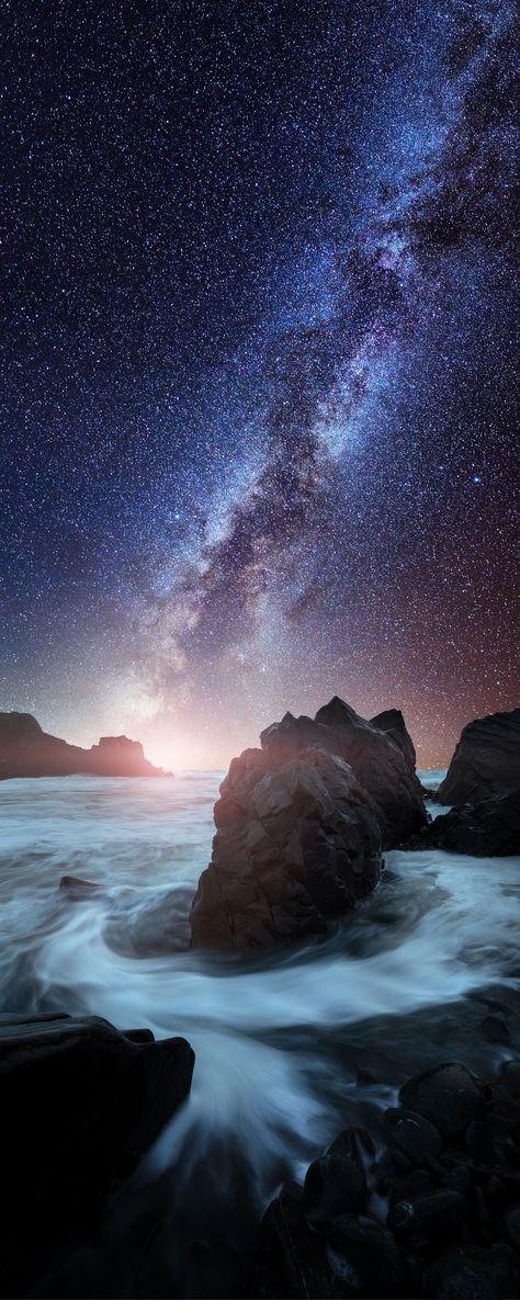 Flow, by Mads Peter Iversen.... #sky #city #water #river #beach #blue #night #light #way #rocks #beautiful #stars #california #longexposure #flow #milky #milkyway #crescent #galaxy