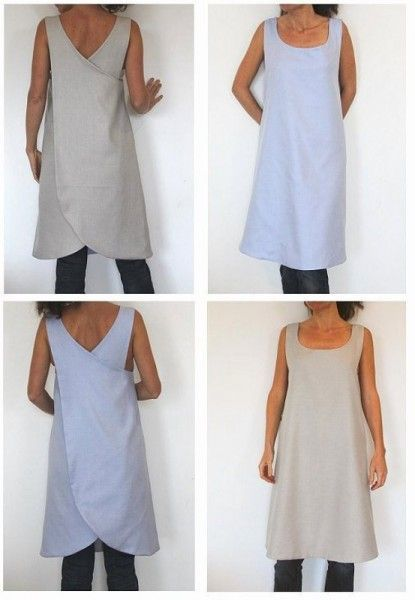 Sewing Pattern – This is a pattern for a cross-back full apron but they are calling it a 'backless reversible tunic for woman'. I Love Japanese fashion? Learn to sew Japanese sewing patterns at www. Japanese Sewing Patterns, Sewing Patterns Free, Clothing Patterns, Dress Patterns, Apron Patterns, Pattern Sewing, Apron Pattern Free, Crochet Patterns, Fashion Patterns