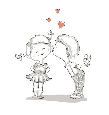 Hand drawn of kissing boy and girl vector by Olga_Lebedeva on VectorStock®