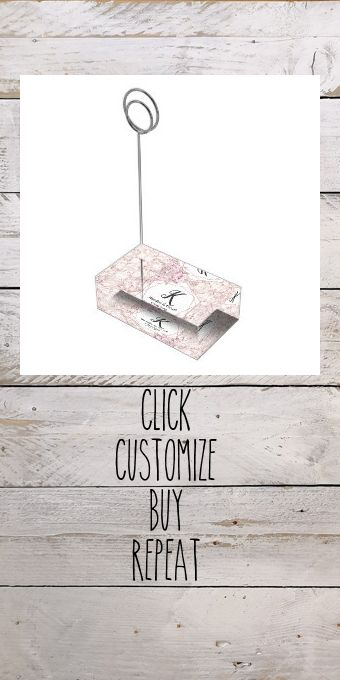 Blush Marble Geometric Floral Wedding Monogram Place Card Holder #watercolor #chic #geometric #garden #marble #PlaceCardHolder