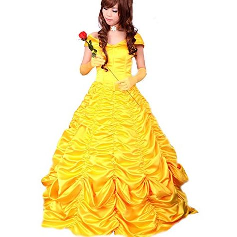 Wraith Of East Adult Princess Belle Cosplay Costume Satin Yellow