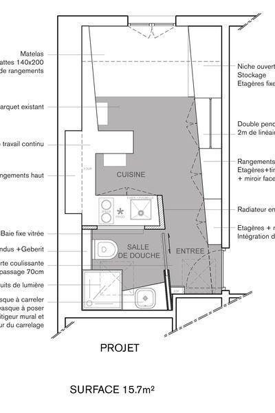 Plan Du Studio Renove De 16m2 Par L Agence Archipelles Amenagement Studio Studio Paris Amenagement Studio 20m2