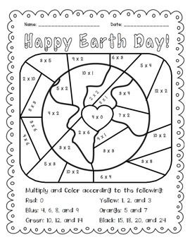 Earth Day Multiply And Color Activity For Math Practice