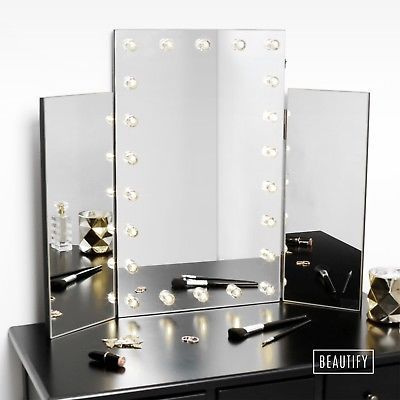 Beautify Large Trifold Hollywood Makeup Dressing Table Vanity