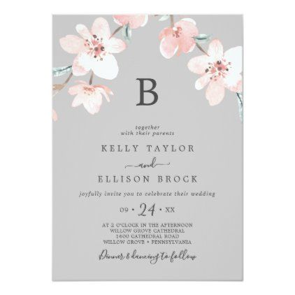 Spring Cherry Blossom Gray Monogram Wedding Invitation Zazzle Com Monogram Wedding Invitations Monogram Wedding Wedding Invitations