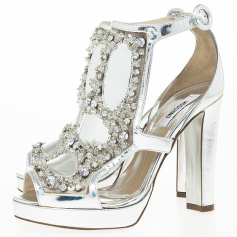 2d6c884516e LC - Buy   Sell - Moschino Silver Crystal Embellished Platform Sandals Size  36