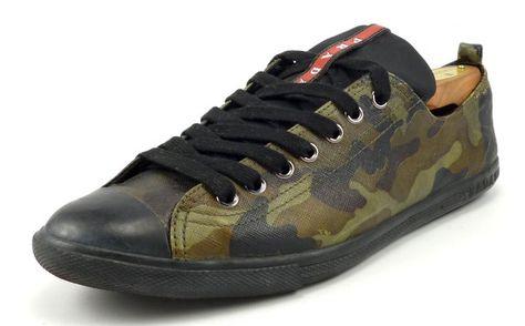 0be895bebd4f4 Prada Mens Shoes Size 8, US 9.5 Coated Canvas Sneakers 4E2105 Camo Green  #distinctivedeals #mensfashion