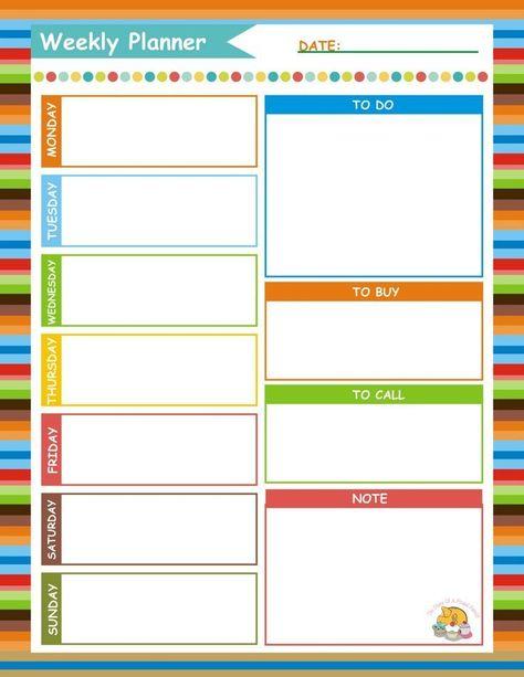 Weekly Planner {Free Printable} to help you organise the week ahead.
