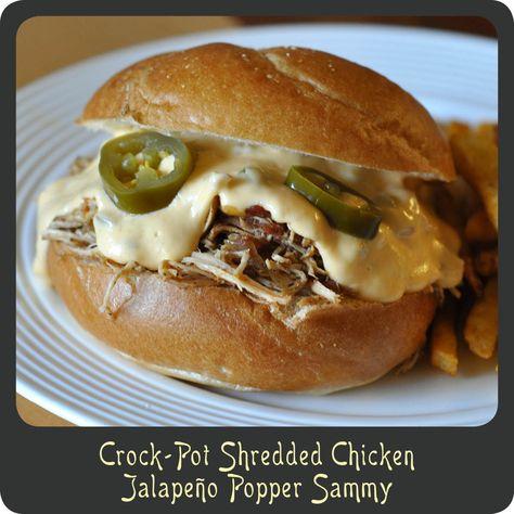 Crock-Pot Shredded Chicken Jalapeño Popper Sammy