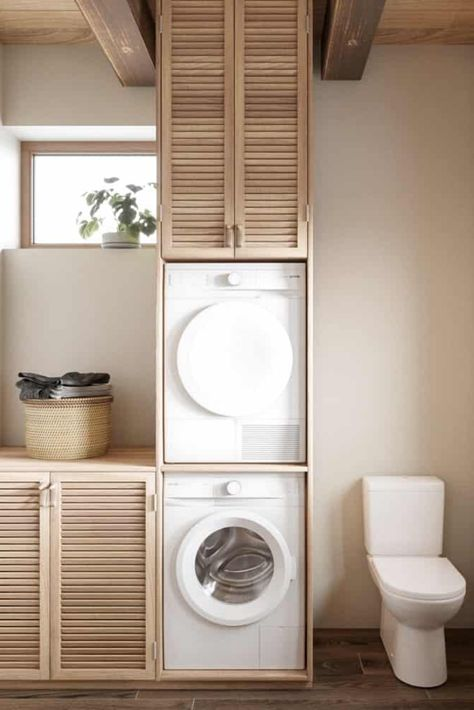 Zen Laundry Room Design Inside House CZ Downstairs by Ruda Studio Modern Japanese Interior, Modern Interior Design, Minimalist Interior, Minimalist Home, Minimalist Apartment, Japanese Bathroom, Inside Home, Studio Interior, Laundry Room Design