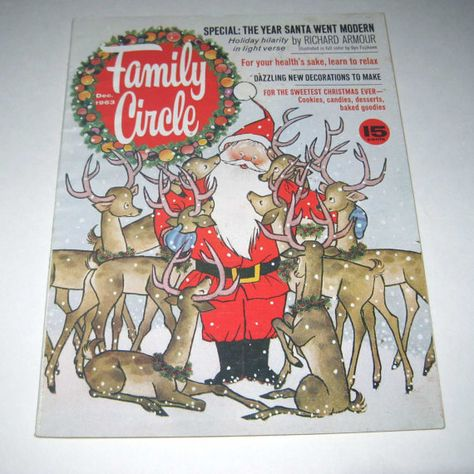Vintage 1960s Family Circle Magazine December 1963 Issue with Gyo Fujikawa Santa Claus Illustrations and Story