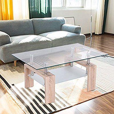 Amazon Com Tangkula Rectangular Glass Coffee Table Shelf Wood Living Room Home Furniture Bright Wooden Coffee Table Coffee Table With Shelf Coffee Table Wood