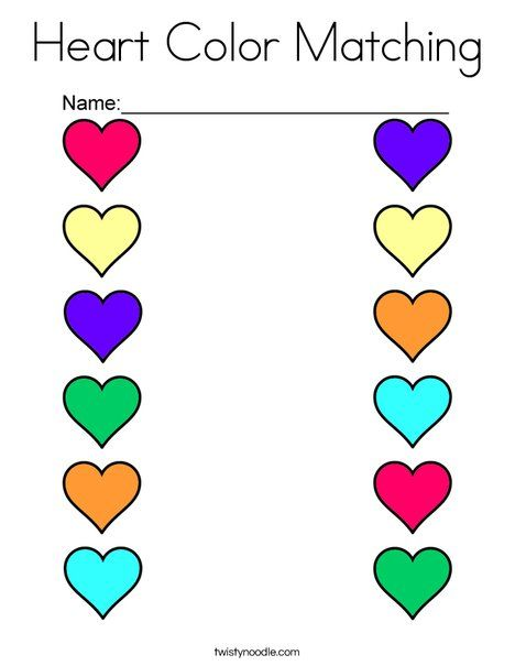 Heart Color Matching Coloring Page - Twisty Noodle Color Worksheets For  Preschool, Shape Activities Preschool, Kindergarten Math Worksheets