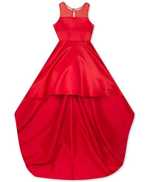0e2667f5c Rare Editions Big Girls High-Low Hem   Train Satin Dress - Red 7 ...