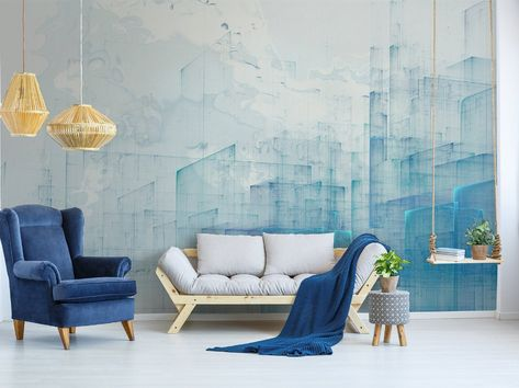 Abstract City Wallpaper Blue Cityscape Wall Mural Landscape | Etsy