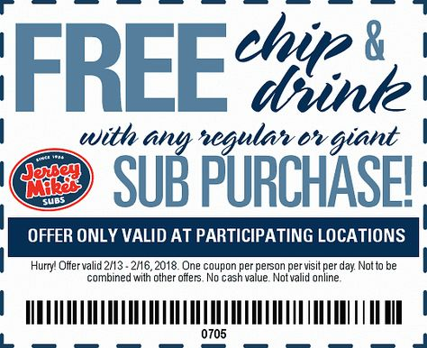 Free Chips And Drink With Sub Purchase Jersey Mikes Dealsplus Printable Coupons Coupon Apps Free Printable Coupons