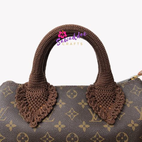 a503b5a84f15 ... my  etsy shop  Free Shipping Dark Brown Handmade Crochet Pineapple  Design Bag Handle Cover  Protector with for LV Louis Vuitton Speedy 25-30-35