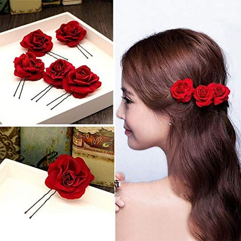 RED ROSE HAIR FLOWER PIN BRIDAL TIARA FLORAL WEDDING ACCESSORIE 13