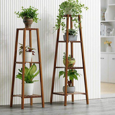 Magshion Bamboo 3 Tier Tall Plant Stand Pot Holder Small Space