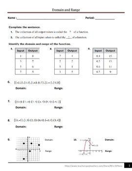 Domain And Range Free Math Activity Math Lessons
