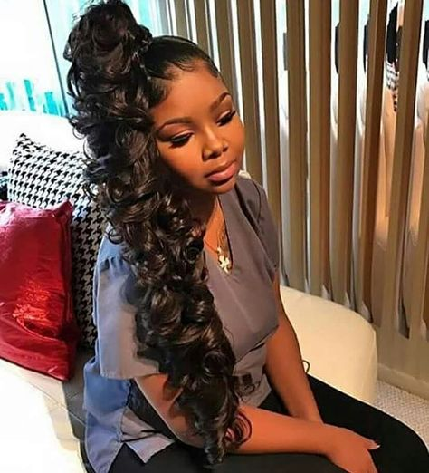 Beautiful High Side Ponytail Curly Design Design In 2019 Hair with sizing 1242 X 1623 High Curly Ponytail Hairstyles - It's official, curly hair is back High Weave Ponytail, Hair Ponytail Styles, Side Ponytail Hairstyles, Dope Hairstyles, High Ponytails, Sleek Ponytail, My Hairstyle, Weave Hairstyles, Curly Hair Styles