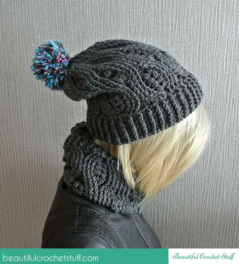 Crochet Infinity Scarf And Crochet Beanie By Jane - Free Crochet Pattern - (beautifulcrochetstuff)
