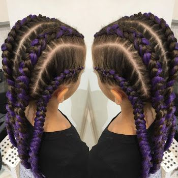 Purple Cornrows Braid In Hair Extensions Hair Styles Braids With Extensions