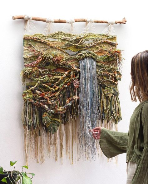 Crossing Threads first commission for the year Titled 'JANGALA' this handwoven piece represents the places… Art Fibres Textiles, Textile Fiber Art, Weaving Textiles, Weaving Art, Weaving Patterns, Tapestry Weaving, Loom Weaving, Art Macramé, Weaving Wall Hanging
