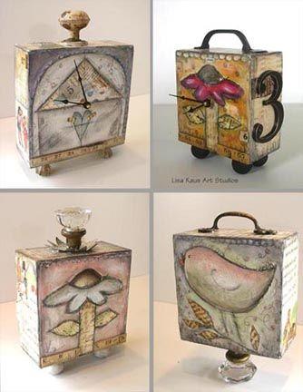 mixed media (art by Lisa Kaus ) Wood Block Crafts, Wood Blocks, Wood Crafts, Paper Crafts, Diy Crafts, Glass Blocks, Cigar Box Art, Cigar Box Crafts, Altered Cigar Boxes