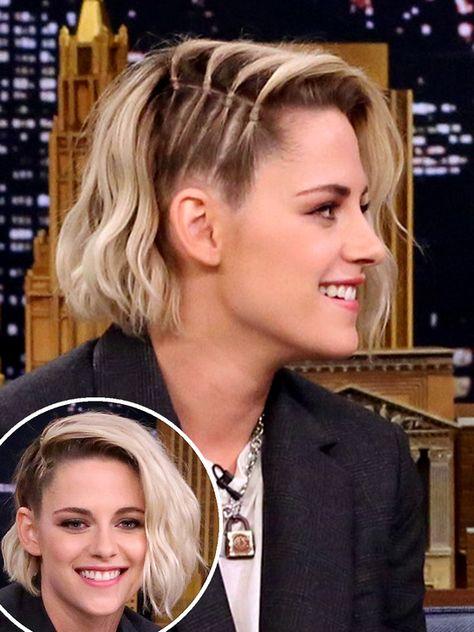 10 Super-Chic Updo Ideas for Short Hair   People - Kristen Stewart's half-braid hairstyle